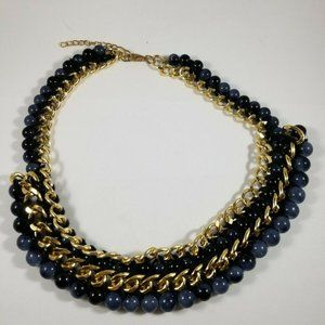 Unbranded Blue Bead Gold Tone Necklace